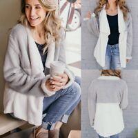 Womens Winter Fur Fluffy Cardigan Coat Tops Jacket Fleece Jumper Tops Overcoat