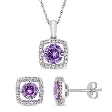 Amour 10k White Gold Created Alexandrite and Diamond Floating Halo Jewelry Set