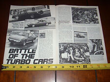 BUICK GRAND NATIONAL - MUSTANG SVO - DODGE CONQUEST - ORIGINAL 1986 ARTICLE