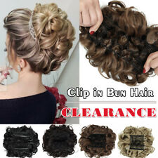 Large Curly Messy Bun Hairpiece Scrunchie Clip in As Human Hair Extensions Thick