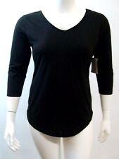 bobbie brooks womens knit top size l black 3/4 sleeve cut out back summer beach