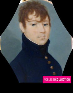 ANTIQUE 1820s FRENCH MINIATURE HAND PAINTED WATERCOLOR  Young man Portrait