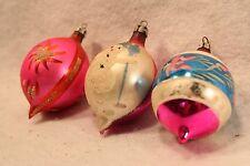 Vintage Christmas Ornaments Poland Glass Snowman Handblown Long Pontil Lot 3
