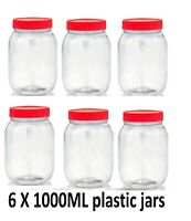 6 X 1000ML Plastic Storage Jars Containers Canisters Pots Screw Top Spice Jars