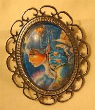 in the Air Silvertne Brooch Pin Lovely Lacy Scallop Rimmed Lady Dreaming Castles