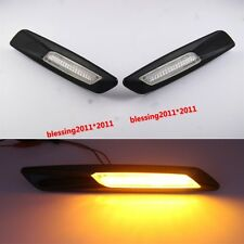 2 x Black Trim LED Side Marker Amber For BMW E90 E91 E92 E60 E61 E82 F10 Style