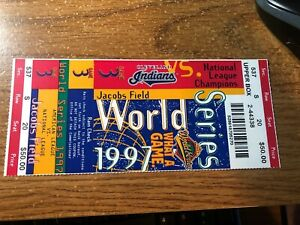 1997 MLB World Series GAME 3 Full Ticket Stub Cleveland Indians Jim Thome