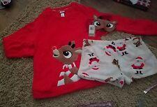 Juniors SZ XL Rudolph Reindeer Plush  Pajama Set~ LS Shirt/Shorts/Mask~NeW~$54~