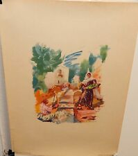 """GEORGES CYR """"CRAFTMAN AND FRUIT SELLER"""" OFFSET CATHOLIC PRESS BEIRUT LITHOGRAPH"""