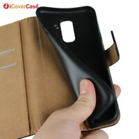 Genuine Leather Flip Wallet Case Cover For Samsung Galaxy A6 2018 A6+ Plus 2018