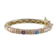 Gold Plated Pink Enamel Multi Color Flowers Newborn Babys Bangle Bracelet 35 mm
