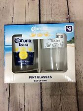Corona Extra Pint Glasses Set of 2 Beer Glasses 16 Ounce Pint Size