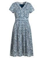 Seasalt Navy Sketched Rose Light Squid Villa Garden Dress - Size 8 - 18
