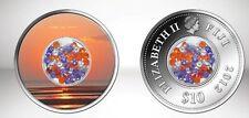 Rare 2012 Fiji Large Silver Color Proof  $10 Sunset w 50 cubic zirconia