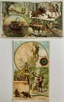 SET of 2 Antique Arbuckle Bros Coffee Victorian Trade Cards #18 #9 Tyrol Maine
