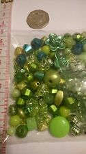 mixed beads. green. 50 gr. for jewellery, craft. sold as seen