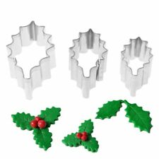 3X Stainless Steel Holly Leaf Cookie Cutter Christmas Biscuit Mould Mold DIY