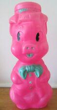 "Vtg 1964 Aj Renzi Hot Pink Plastic Piggy Bank BlowMold Pig uncut coin hole 16""!"