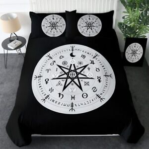 Astrology Star Witchcraft Black King Queen Twin Quilt Duvet Pillow Cover Bed Set