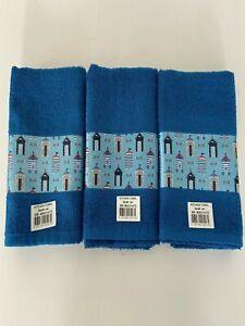 Pack of 3 Beach Hut Design Kitchen Tea Towel in Blue 100% Cotton 50cm x 65cm
