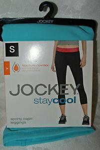 New JOCKEY STAYCOOL SPORTY LEGGINGS Blue  Moisture Control S Capri