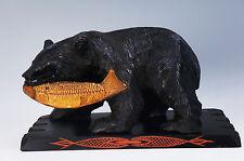 Japanese HOKKAIDO Woodcarving Bear Bites Salmon Statue 2.27kg w/pedestal 579f14