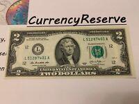 2 Dollar Bill ☆ UNCIRCULATED ☆, CRISP, SEQUENTIAL SERIAL NUMBER 2013