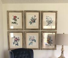 Vintage Rustic redoute Botanical Prints Roses Wall Art Framed 6 Lot Ivory Gold