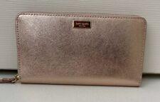 New Kate Spade New York Neda Laurel Way Leather zip around wallet Rose Gold