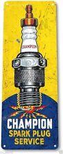 "TIN SIGN ""Champion Service"" Metal Spark Plugs Gas Oil Garage Shop Bar A849 #"