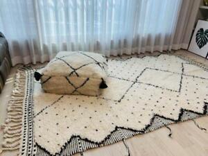Moroccan Beni Ourain rug wool Beber carpet Handwoven area rug luxury Style dotte