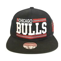 CHICAGO BULLS Black Red Mitchell & Ness Men's Adjustable Snapback Hat Cap