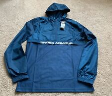 BNWT MENS UNDER ARMOUR PETROL BLUE ZIP WARM UP HOODIE SIZE LARGE