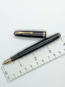 "Vtg black gt Pilot eyedropper valve fountain pen - 14k ""1"" flex nib - Japan"