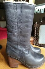 Grey leather Fur Linned Clogg Boots (Ugg?) UK 6.5