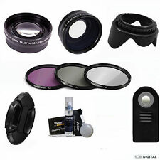 WIDE ANGLE LENS +  ZOOM LENS + REMOTE + LENS HOOD FOR CANON EOS REBEL T3 T3I T5