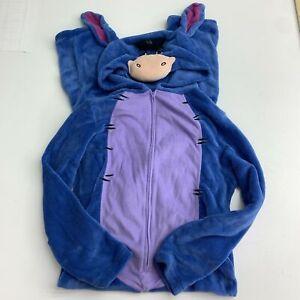 Disney One Piece Lounge Pajama Romper Women's M Blue Fleece Zip Up Hooded Eeyore