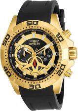 Invicta Mens Aviator Chrono 100m Gold Plated Case Black Polyurethane Watch 21738