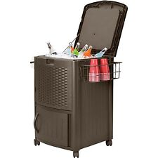 Suncast Resin Wicker Cooler Outdoor Patio Ice Deck Chest Bar Portable Party  Pool