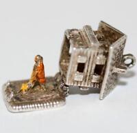 Opening Chalet Cabin Sterling Silver Enamel Vintage Bracelet Charm  4.6g