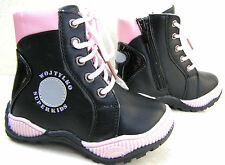 NEW BABY GIRLS BLACK ZIP LACES FUR SHORT BOOTS WINTER WARM SNOW SHOES SIZES 5 7
