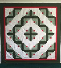 Green Log Cabin Barn Raising Quilt Top 89 x 89 Great for hand/machine quilting