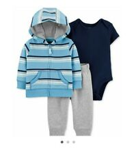Carter's Baby Boy 3 Piece Cotton Striped Hoodie, Bodysuit And Pant Set 24mo