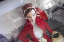 2005 Gold Label Ferrari Barbie Doll With Red Coat Bag Boots Sunglasses Earrings