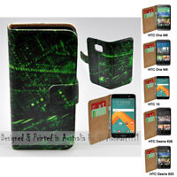 For HTC Series Mobile Phone Matrix Abstract Theme Print Wallet Phone Case Cover