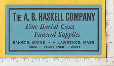 9642 A. B. Haskell funeral supplies death c 1930 blotter Bangor ME, Lawrence, MA