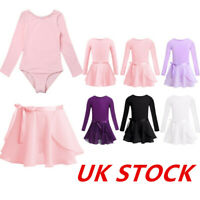 UK Girls Ballet Dance Dress Leotard+Tutu Skirt Outfit Kids Ballerina Dancewear