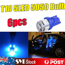 6 pcs T10 Blue 5050 5SMD LED Wedge Auto Parking Side Turn Signal Bulb Replaces