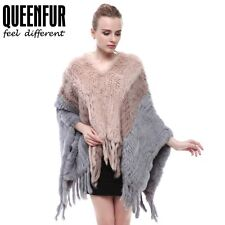 Queenfur Knit Rabbit Fur Shawl Real Fur Women Winter Poncho Fashion Stole Cape