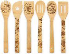 New listing Sunflower Wooden Spoons Summer Hello Sunshine Organic Engraved Bamboo Utensils S